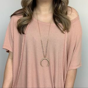 It's A Phase Crescent Necklace - Gold
